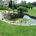 Kövekkel körberakott kis kerti tó Székesfehérváron