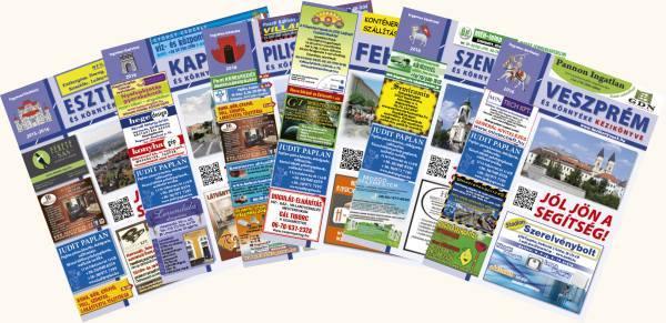 Budapest, 1,2,3,4 és 11,12, 13. kerület kézikönyvének kezdőlapjai kártyaszeű elrendezésben.