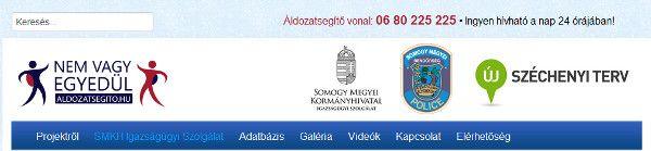 Az áldozatsegítés honlap fejléce, rajta a zöldszám: 80/225-225