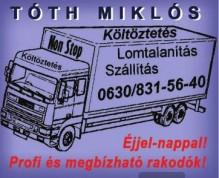 Egy teherautót ábrázoló grafika, rajta feliratok: költöztetés, lomtalanítás, szálítás: +3630 8315640